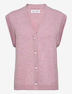 Amaris cardigan vest 12758 - knitted vests - mauve shadow mel.