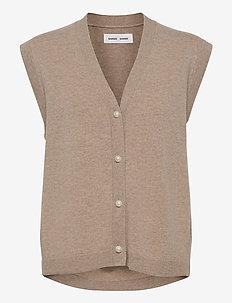 Amaris cardigan vest 12758 - knitted vests - warm grey mel.