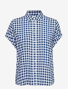 Majan ss shirt aop 9942 - BLU CUBETTO
