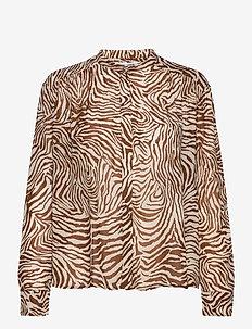 Elmy shirt aop 9695 - langærmede bluser - mountain zebra