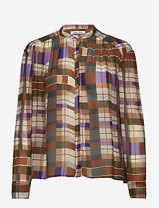 Elmy shirt aop 9695 - pitkähihaiset puserot - patchwork check