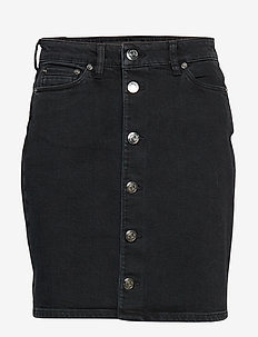 Pamela button skirt 11005 - kynähame - washed black