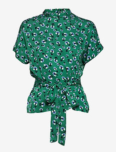 Blumea blouse ss aop 8325 - GREEN CARNATION