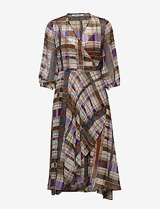 Veneta dress aop 11243 - omlottklänning - patchwork check