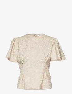 Jo ss blouse 11402 - short-sleeved blouses - white flower