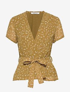 Klea ss blouse aop 6621 - blouses korte mouwen - feuilles khaki