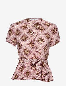 Klea ss blouse aop 6621 - kortermede bluser - foulard