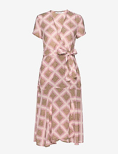 Klea long dress aop 6621 - slå-om-kjoler - foulard