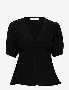 Petunia ss blouse 10056 - kortärmade blusar - black