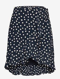 Limon s wrap skirt aop 10867 - kietaisuhameet - blue doodle dot