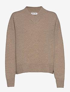 Amaris v-neck 12758 - trøjer - warm grey mel.