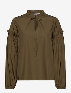 Maia shirt 11468 - bluzki z długimi rękawami - dark olive