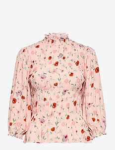 Sarami blouse aop 13018 - langärmlige blusen - pink garden