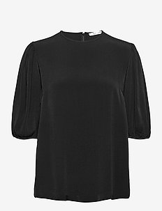 Aram ss blouse 12949 - lyhythihaiset puserot - black