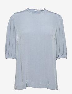 Aram ss blouse 12949 - kortärmade blusar - dusty blue
