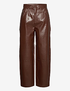 Myla trousers 13102 - pantalons en cuir - chocolate fondant