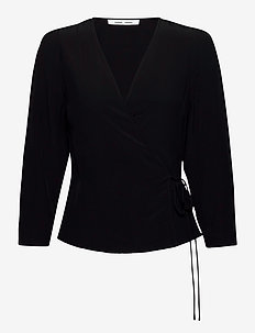 Britt wrap blouse 10864 - langærmede bluser - black