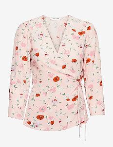 Britt wrap blouse aop 10864 - langærmede bluser - pink garden