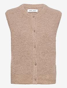Nor cardigan vest 7355 - stickade västar - caribou mel.