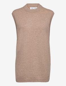 Amary long vest 12758 - kootud vestid - warm grey mel.
