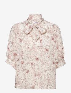 Dorothe ss blouse aop 14018 - kortermede bluser - brick hortus