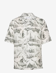 Oscar AX shirt aop 10527 - lyhythihaiset paidat - city of towers cream