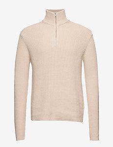 Trani half zip 10986 - half zip jumpers - pumice stone