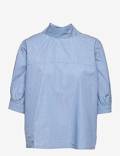 Mallory blouse 11466 - kortærmede skjorter - dusty blue st.