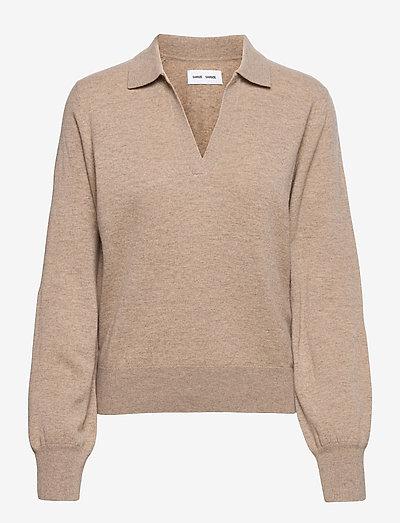 Amaris polo 14001 - pullover - warm grey mel.