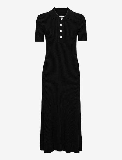 Lucy polo dress 13997 - strikkjoler - black