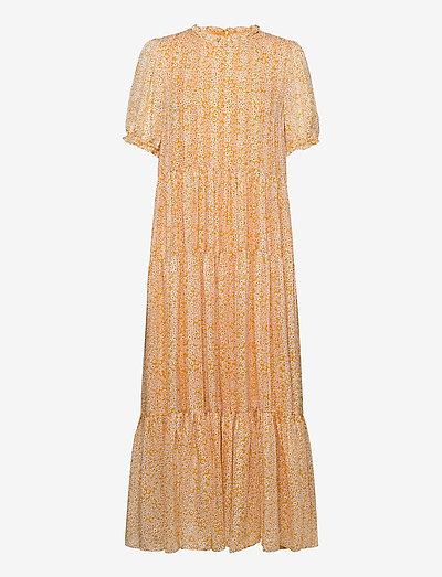 Emerald long dress aop 14018 - zomerjurken - golden aster
