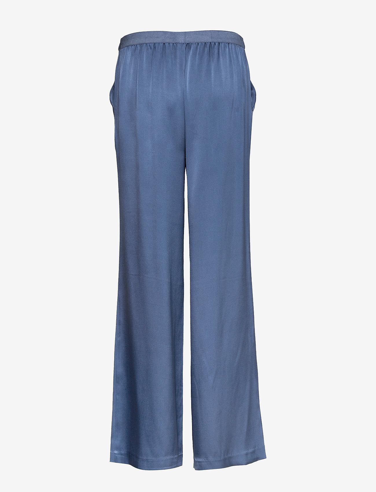 SAND - Double Silk - Sasha Flex Pleated - uitlopende broeken - medium blue - 1
