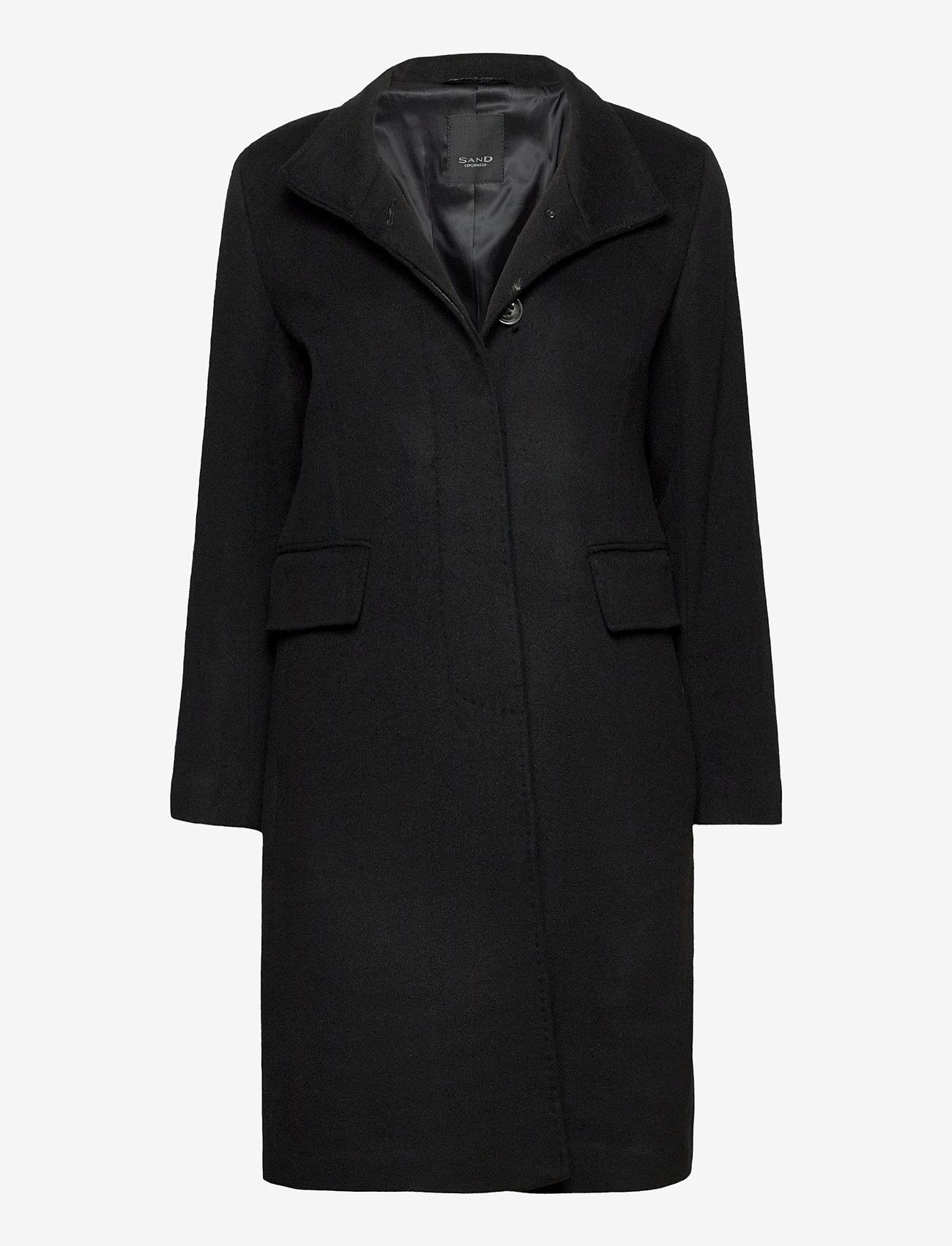 SAND - Cashmere Coat W - Parker 3 - ullkappor - black - 0