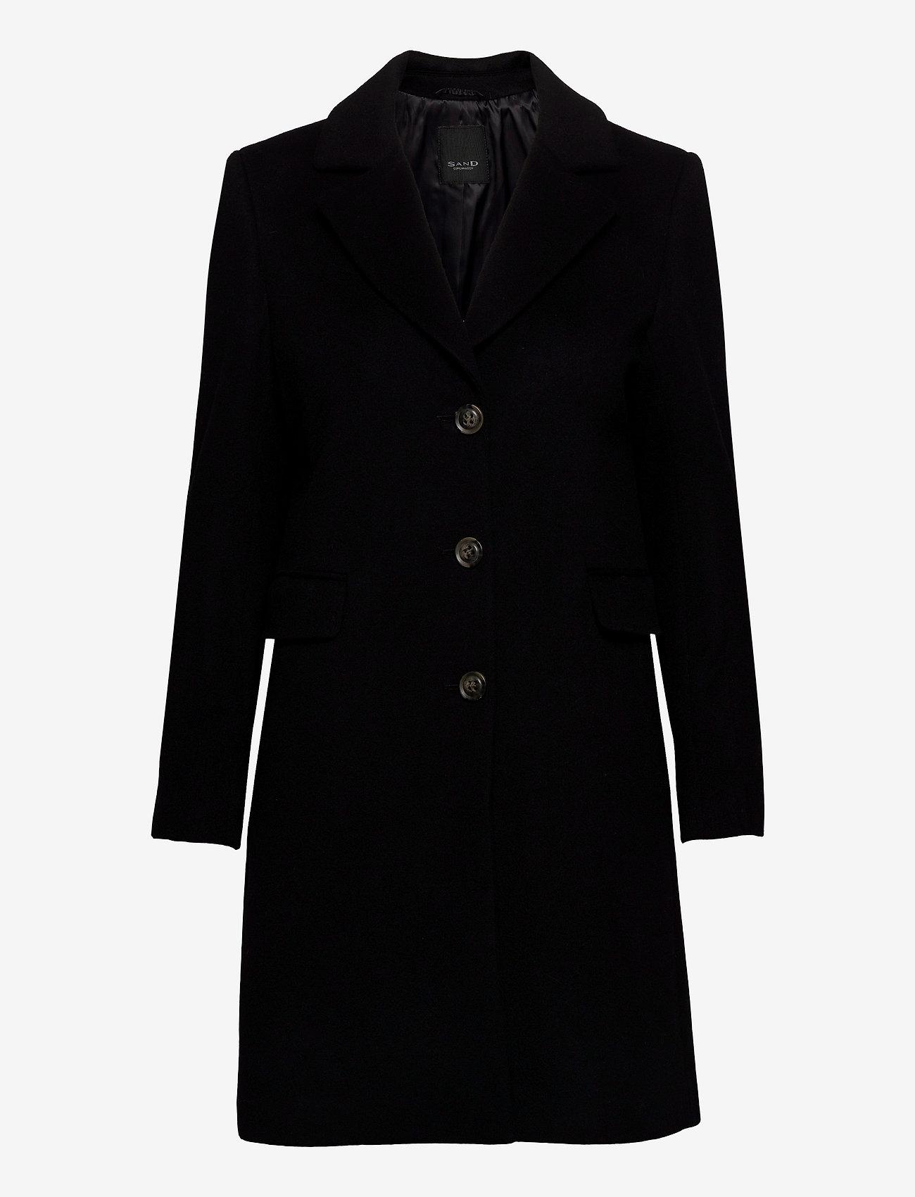 SAND - Cashmere Coat W - Britni 2 - black - 0