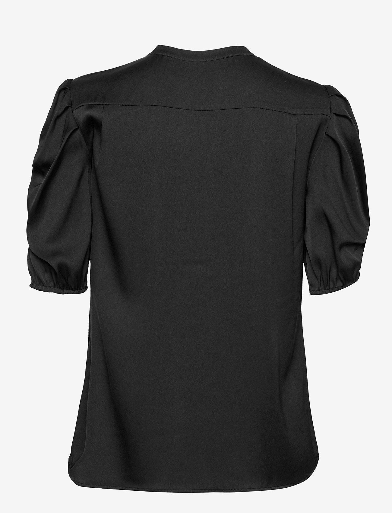 SAND - Satin Stretch - Naolin - short-sleeved blouses - black - 1