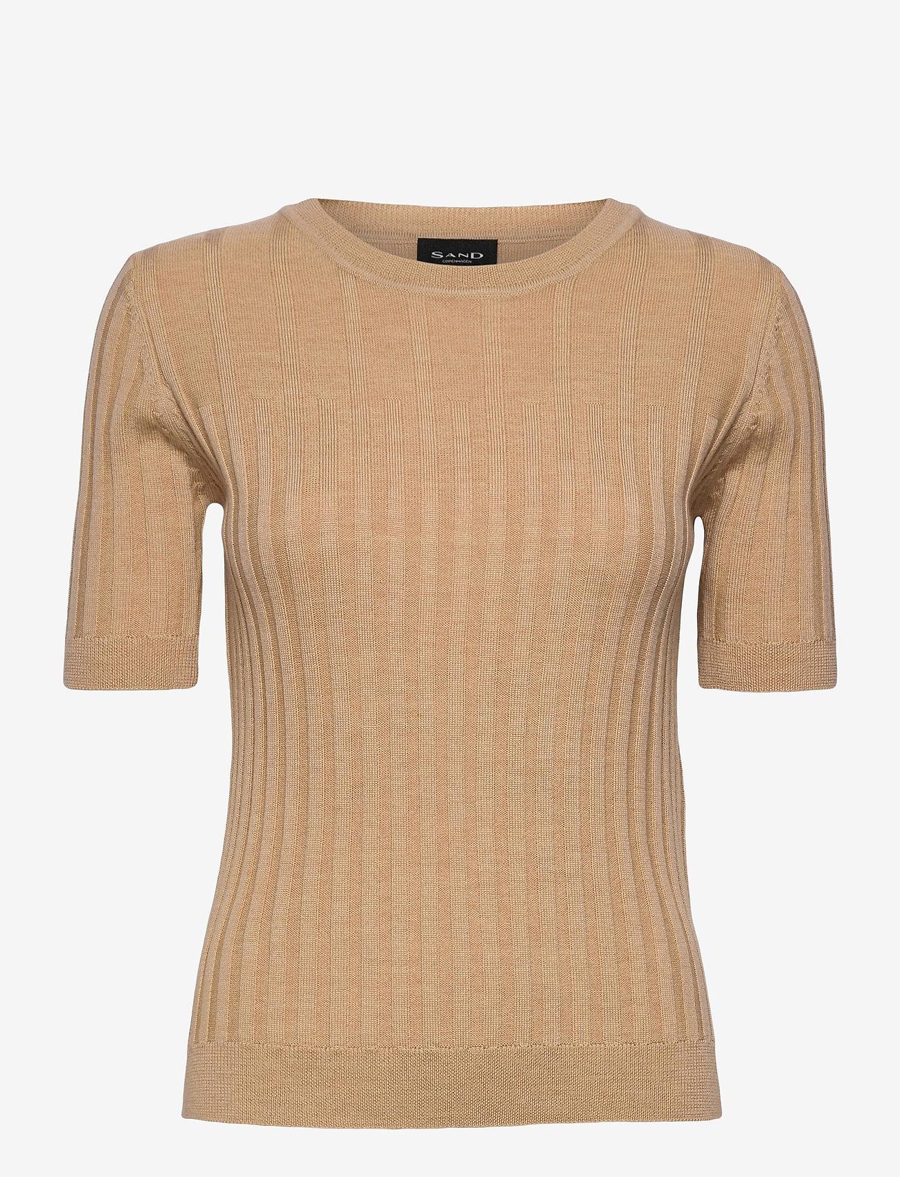 SAND - Fellini F - Leanna - gebreide t-shirts - light camel - 0