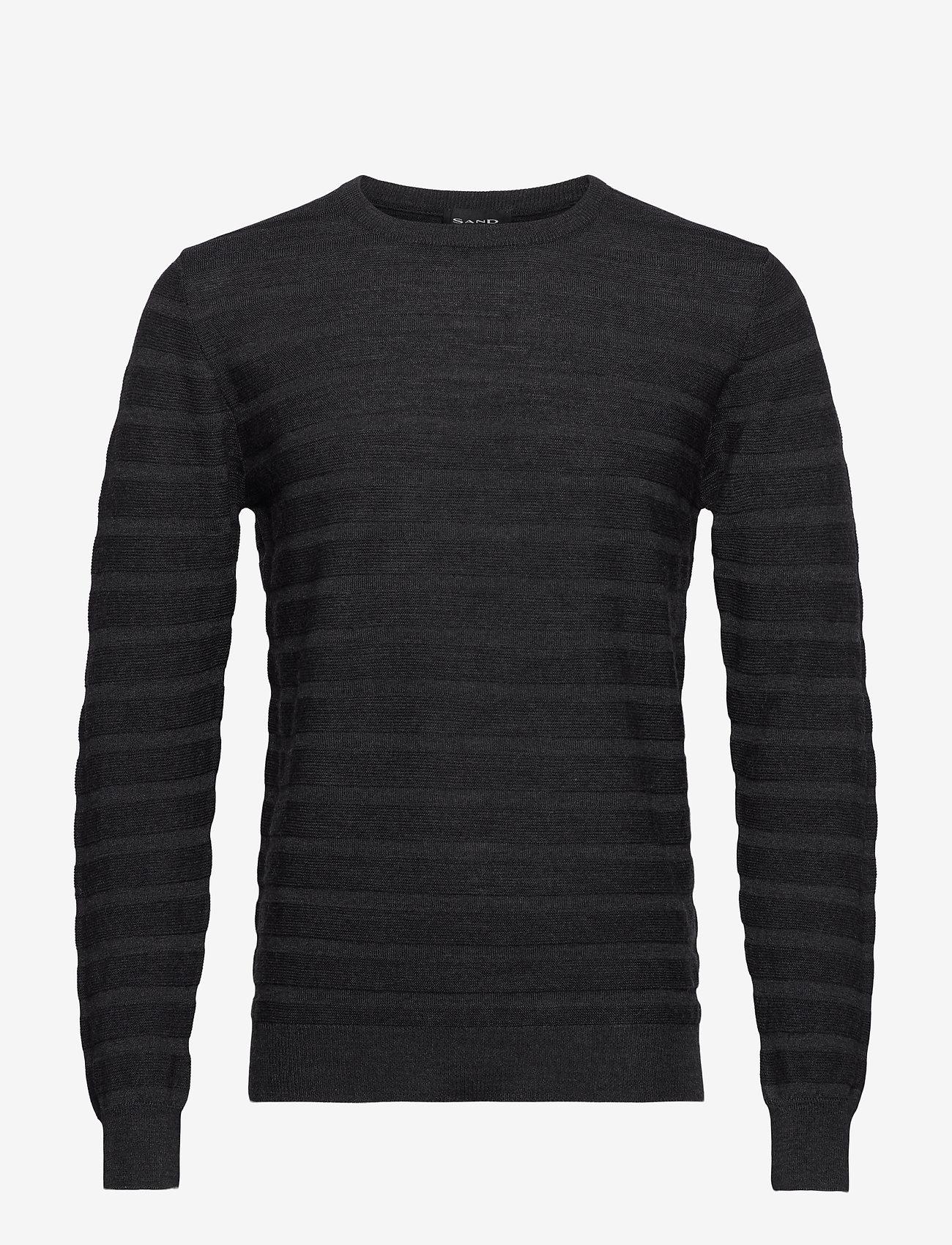 SAND - Merino Stripe - Iq - stickade basplagg - charcoal - 0