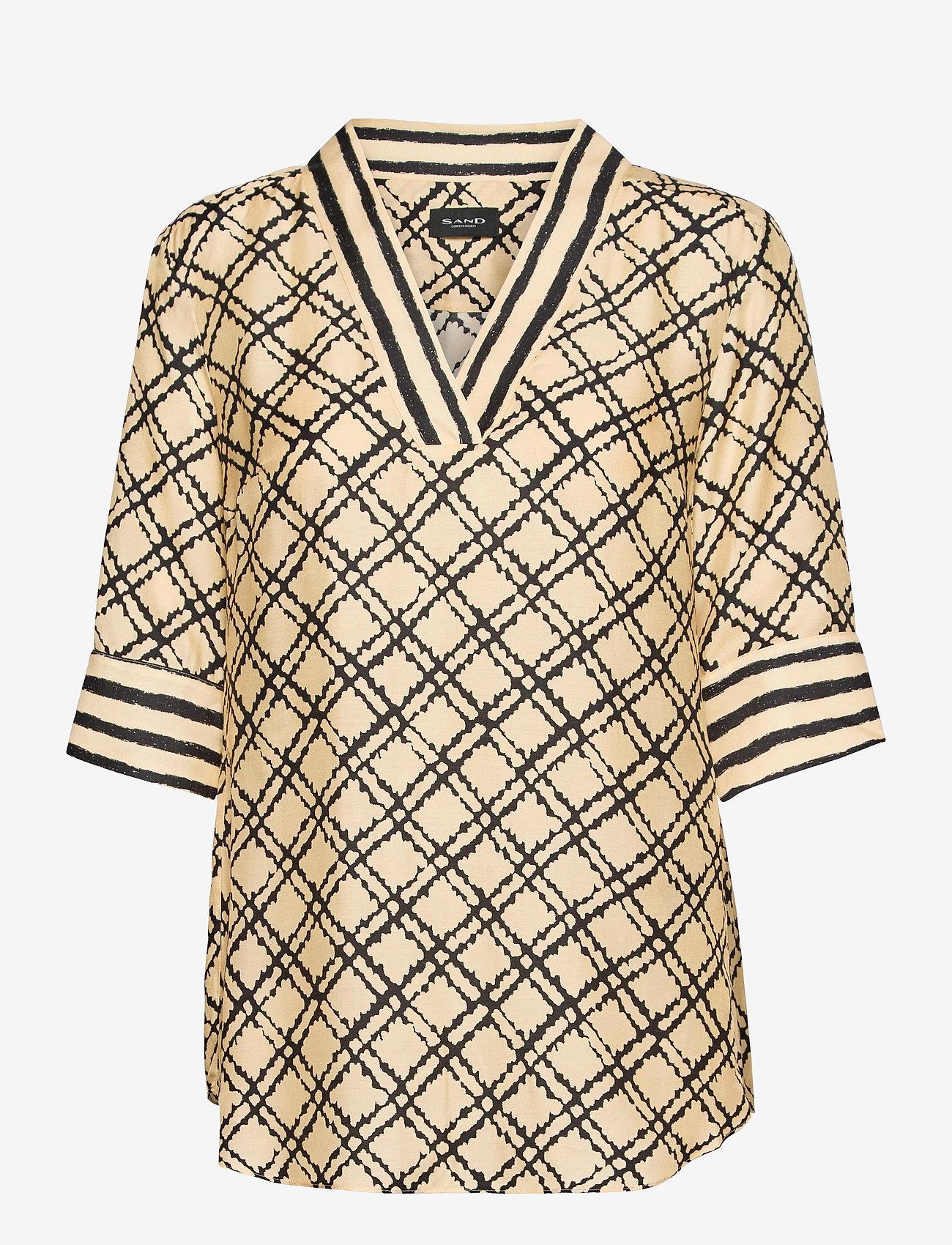 SAND - 3426 - Ambar Blouse - blouses met korte mouwen - pale yellow - 0