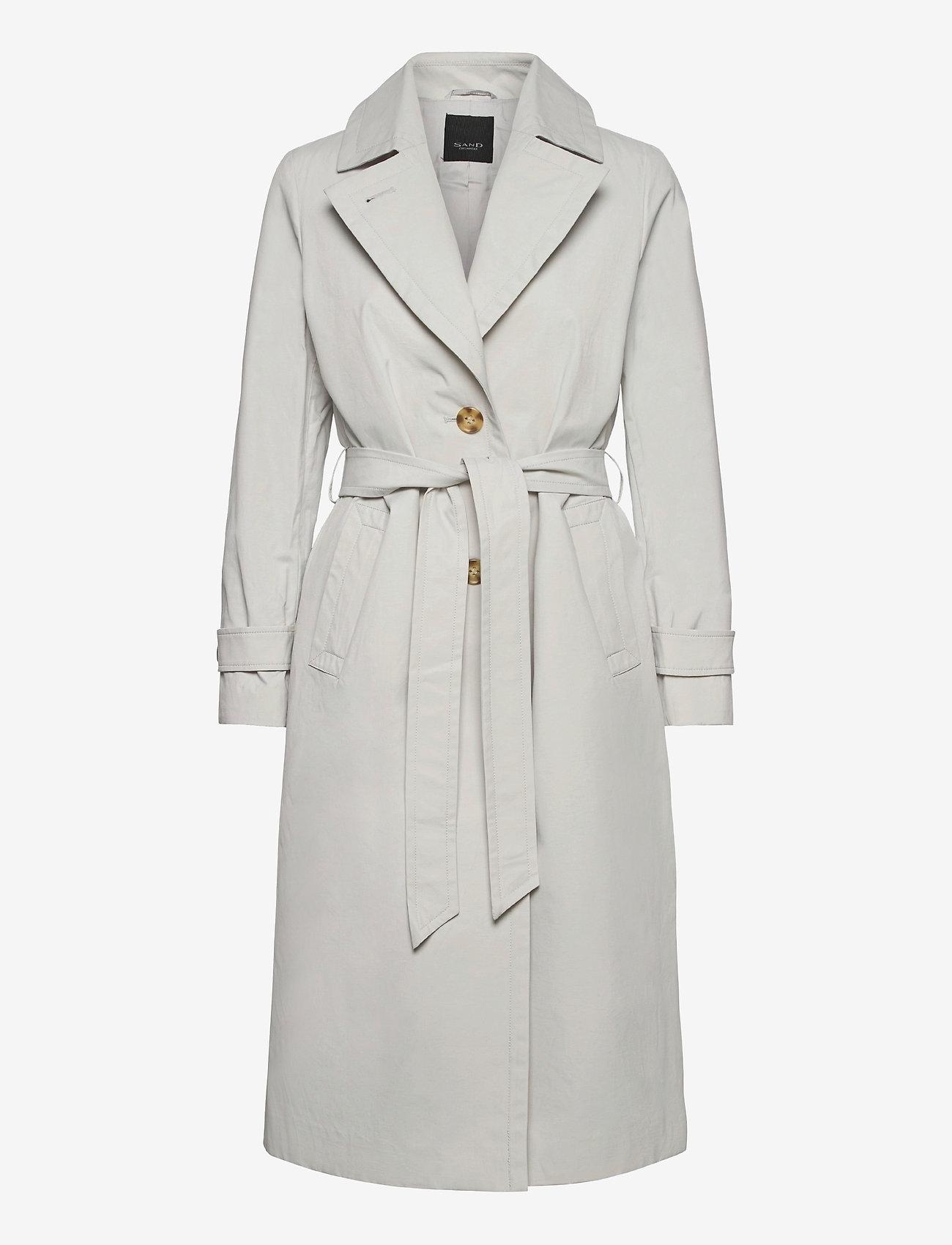 SAND - Techno Cotton W - Clareta Belt - trenchcoats - light pearl white - 0