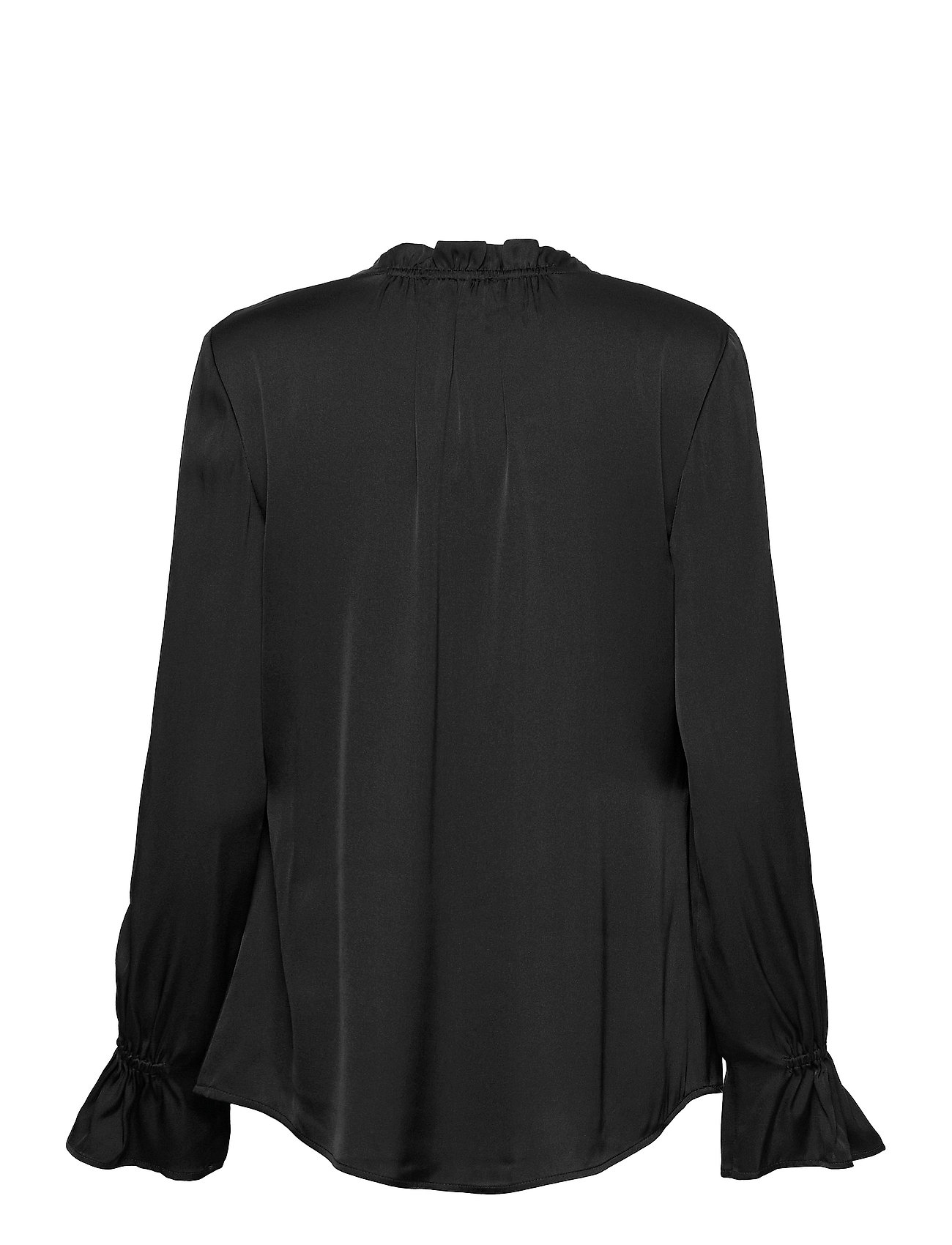 SAND - Satin Stretch - Raya F Sleeve - long sleeved blouses - black - 1