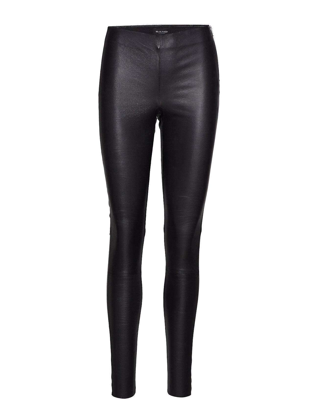 Image of Stretch Leather - Shamar Leather Leggings/Bukser Sort SAND (3118686211)