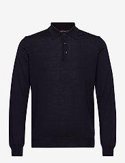 SAND - Merino Embroidery - IPolo - långärmade pikéer - dark blue/navy - 0