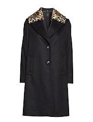 Cashmere Coat W - Clareta L Fur - BLACK