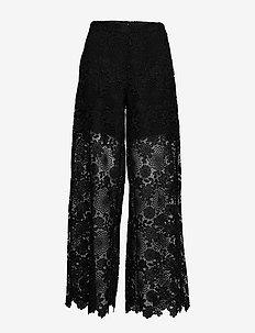 3168 - Flor - leveälahkeiset housut - black