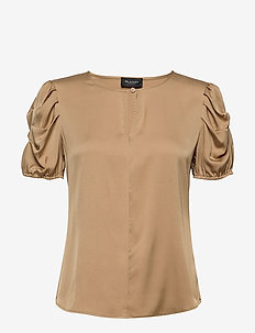 Satin Stretch - Berenice - blouses korte mouwen - light camel