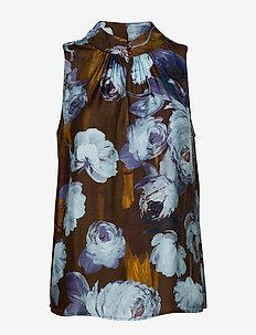 3390 - Prosi Top - sleeveless blouses - dark camel