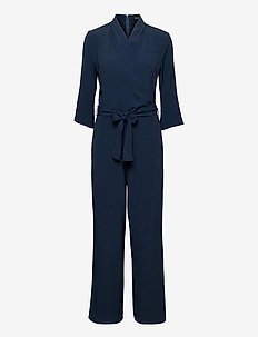 Crepe Satin Back - Whitney Sleeve - jumpsuits - medium blue