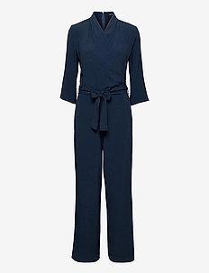 Crepe Satin Back - Whitney Sleeve - jumpsuits - medium blue