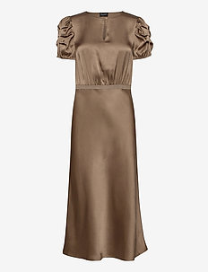 Double Silk - Berenice Dress - midi dresses - light camel