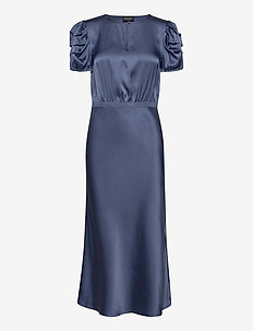 Double Silk - Berenice Dress - midi dresses - medium blue